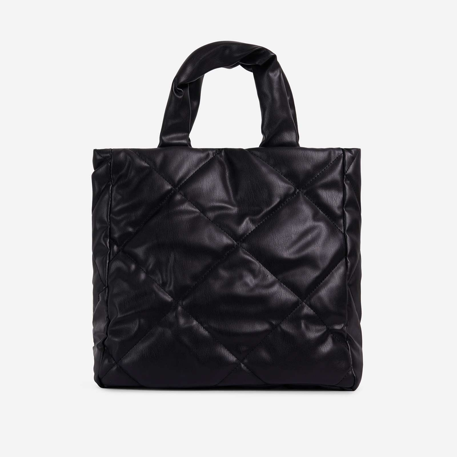Fearn Large Quilted Tote Bag In Black Faux Leather