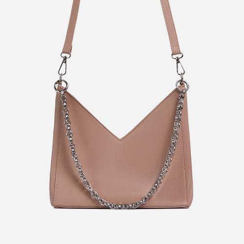 Twilla Chain Detail Shaped Cross Body Bag In Nude Faux Leather