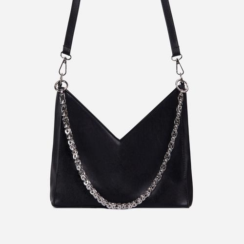 Twilla Chain Detail Shaped Cross Body Bag In Black Faux Leather