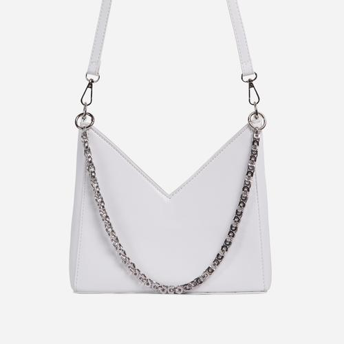 Twilla Chain Detail Shaped Cross Body Bag In White Faux Leather