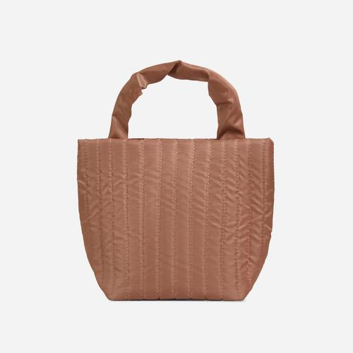 April Quilted Mini Grab Bag In Nude Nylon