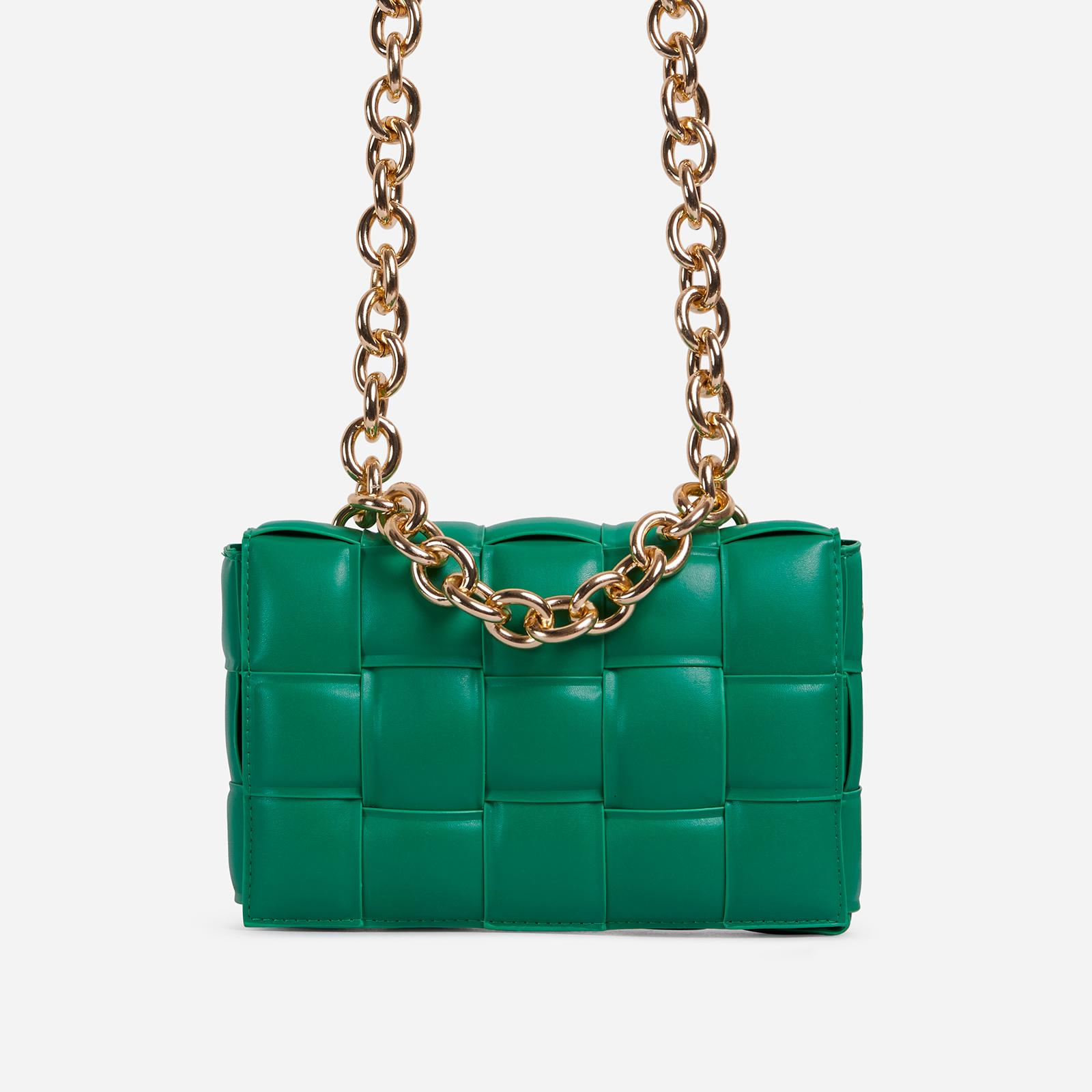 Ego JACKSON CHAIN DETAIL QUILTED SHOULDER BAG IN GREEN FAUX LEATHER
