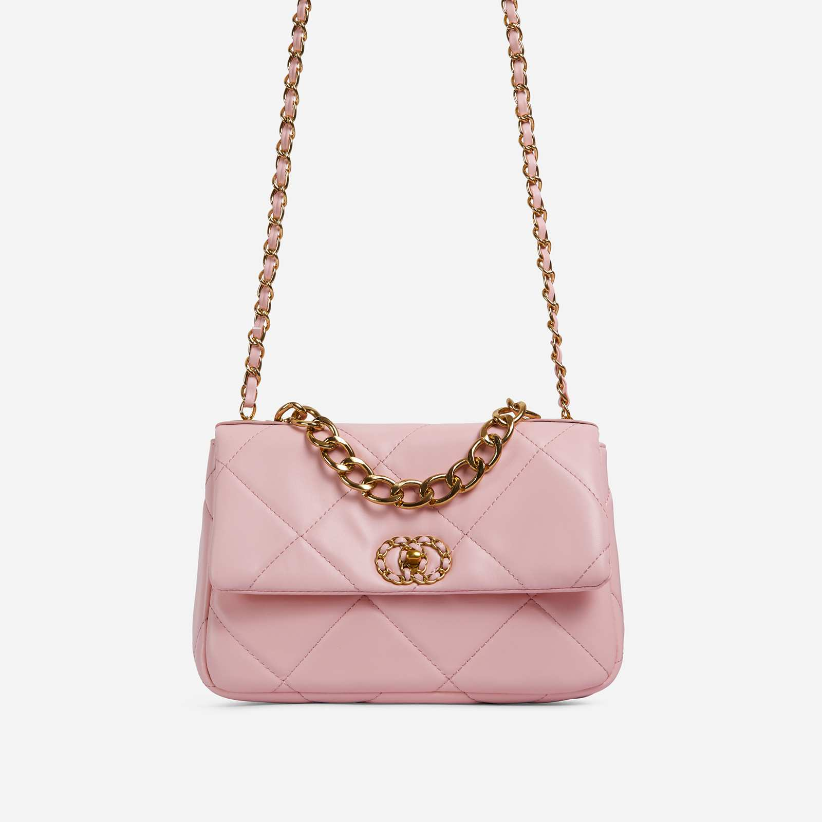 Cosmo Chain Detail Quilted Shoulder Bag In Pink Faux Leather