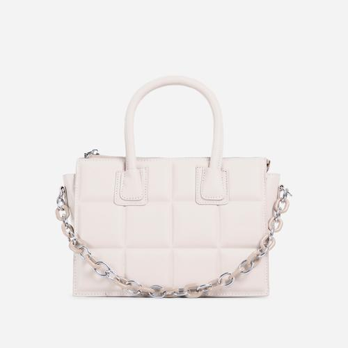 Le-Blanc Chain Details Quilted Tote Bag In White Faux Leather