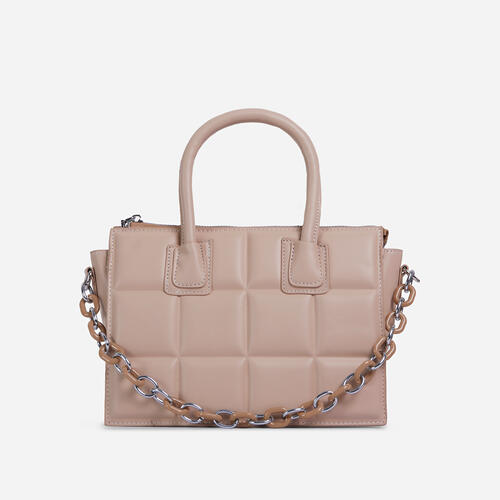 Le-Blanc Chain Details Quilted Tote Bag In Nude Faux Leather