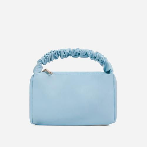 Bay Ruched Handle Grab Bag In Blue Faux Leather