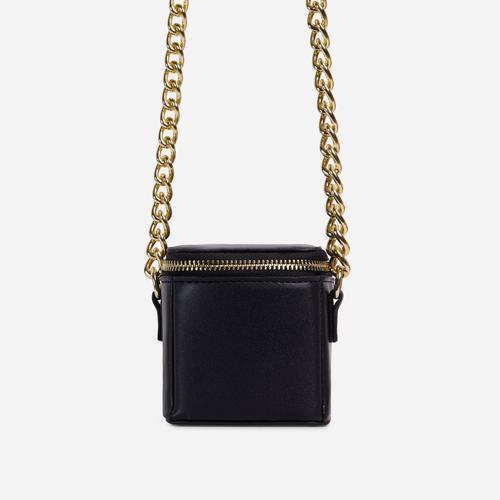 Nate Chunky Chain Cross Body Box Mini Bag In Black Faux Leather