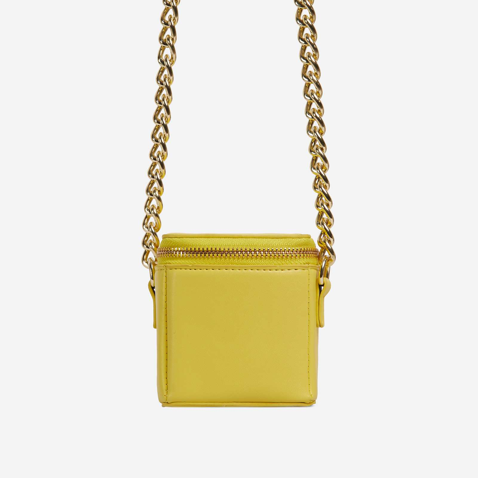 Nate Chunky Chain Cross Body Box Mini Bag In Lime Green Faux Leather