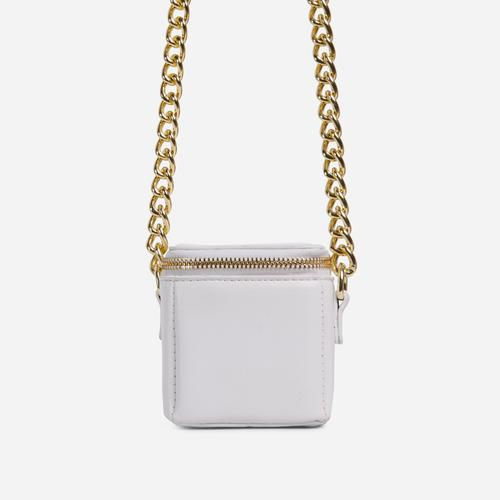 Nate Chunky Chain Cross Body Box Mini Bag In White Faux Leather