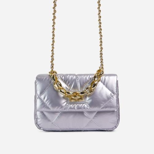 Yaya Chain Detail Shiny Quilted Bag In Silver Nylon