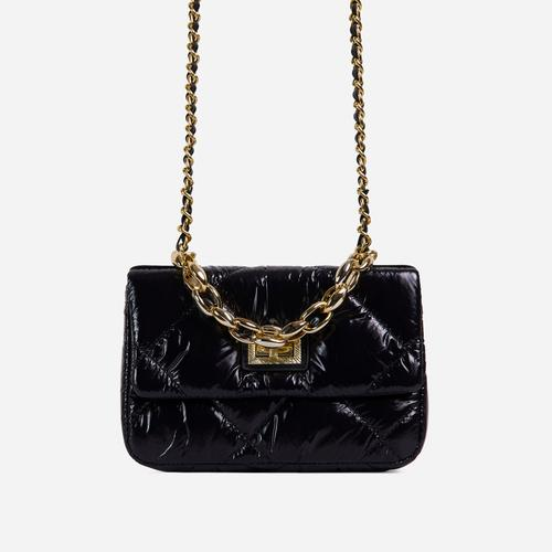 Yaya Chain Detail Shiny Quilted Bag In Black Nylon