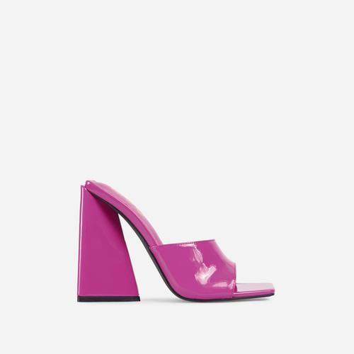 Avalon Square Peep Toe Sculptured Flared Block Heel Mule In Purple Patent
