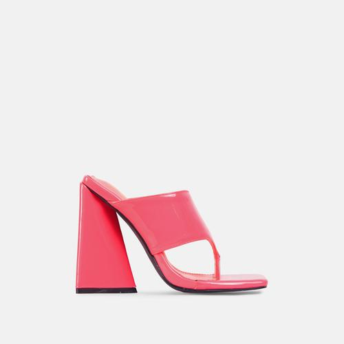 Augustine Square Toe Sculptured Flared Block Heel Mule In Pink Patent