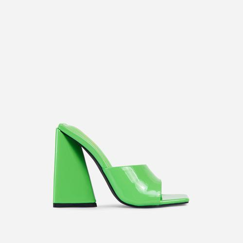 Avalon Square Peep Toe Sculptured Flared Block Heel Mule In Green Patent