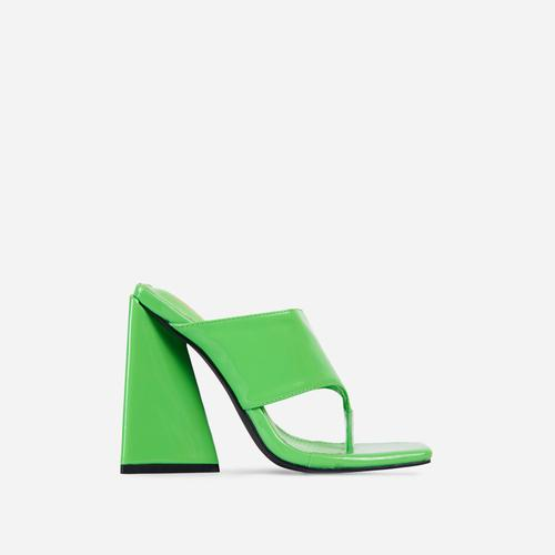 Augustine Square Toe Sculptured Flared Block Heel Mule In Green Patent