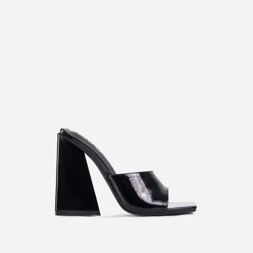 Avalon Square Peep Toe Sculptured Flared Block Heel Mule In Black Patent