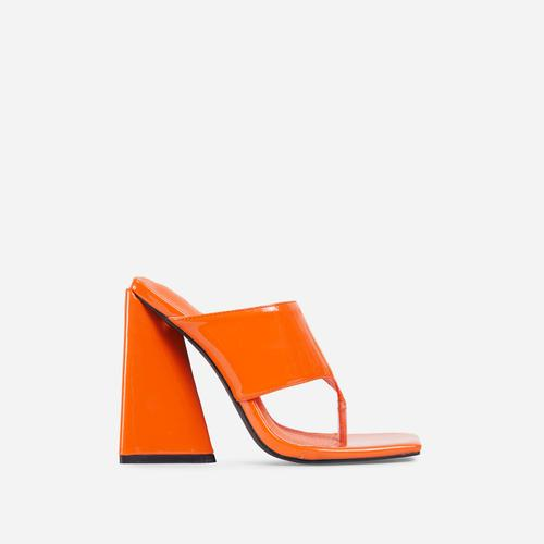 Augustine Square Toe Sculptured Flared Block Heel Mule In Orange Patent