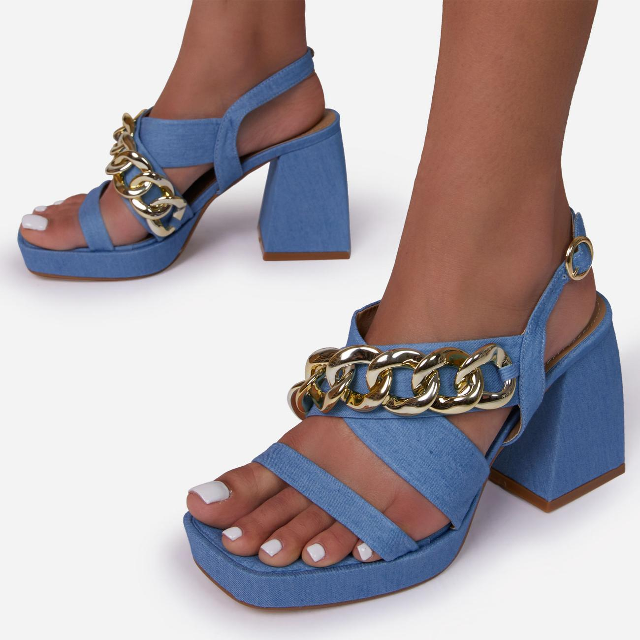 Recharge Wide Fit Chain Detail Platform Flared Block Heel In Blue Denim Image 3