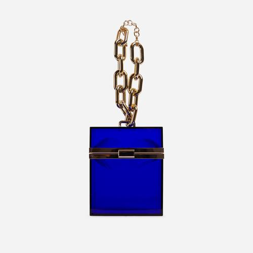 Mila Chain Detail Vanity Bag In Blue Perspex