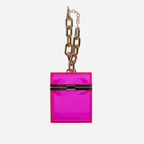 Mila Chain Detail Vanity Bag In Pink Perspex