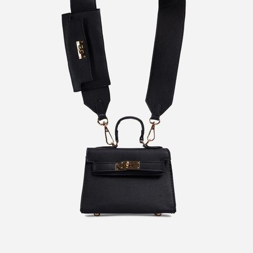 Kady Purse Detail Cross Body Tote Bag In Black Faux Leather