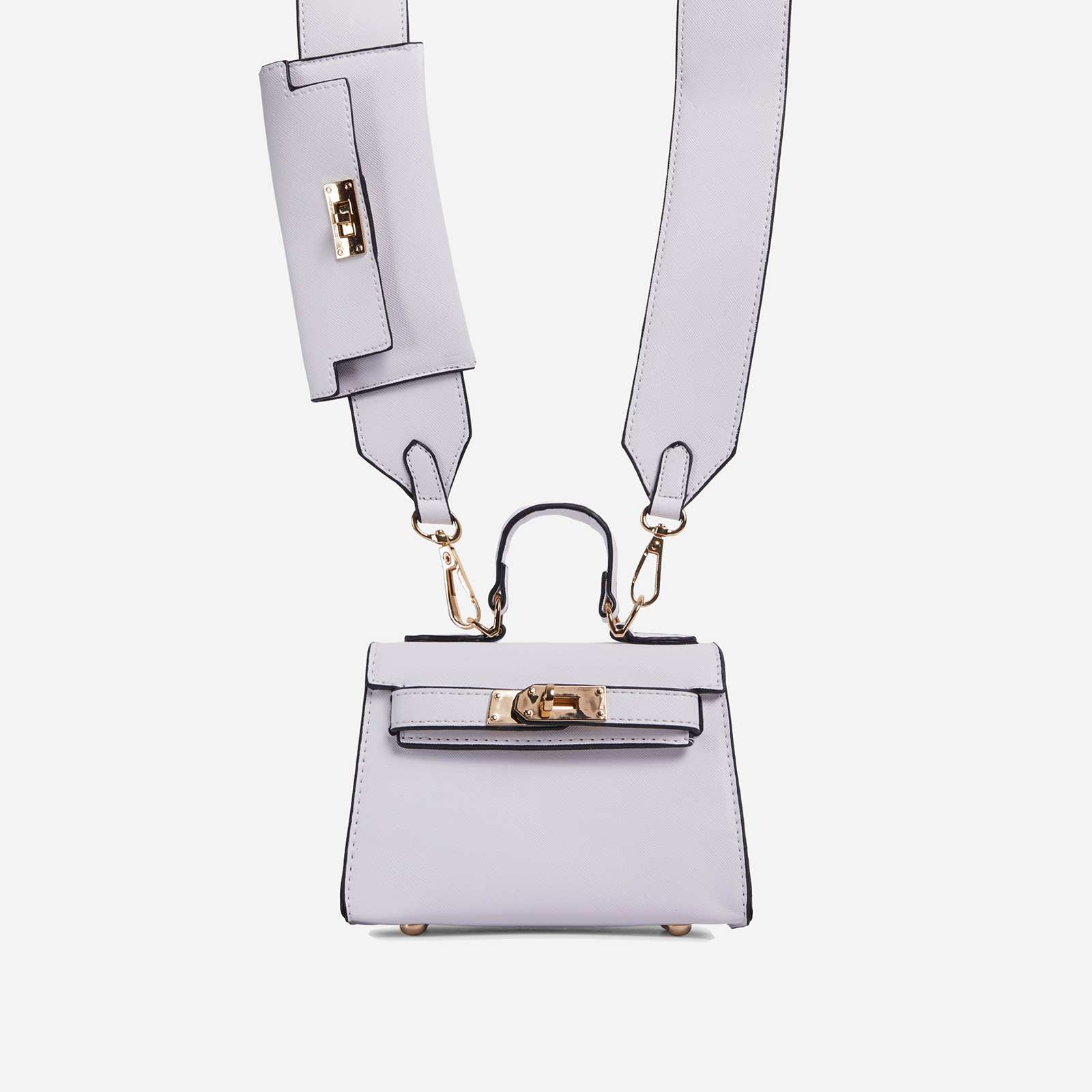 Kady Purse Detail Cross Body Tote Bag In White Faux Leather
