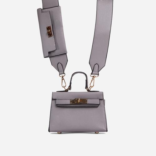 Kady Purse Detail Cross Body Tote Bag In Grey Faux Leather