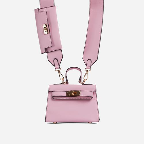 Kady Purse Detail Cross Body Tote Bag In Pink Faux Leather