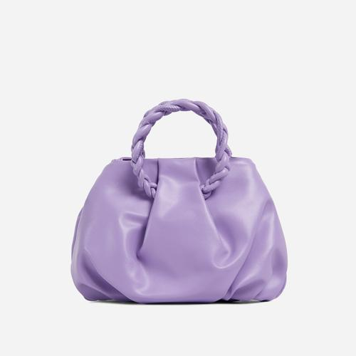 Malia Braided Handle Cross Body Bag In Purple Faux Leather