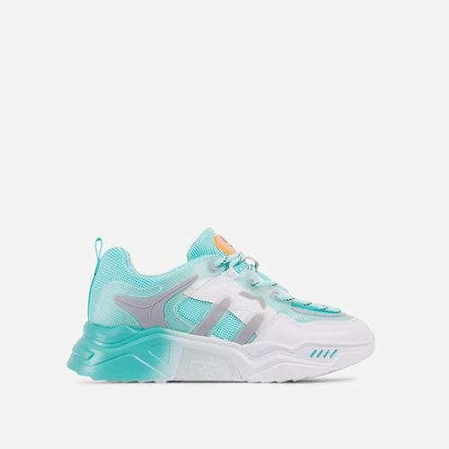 Andre Caged Lace Up Mesh Chunky Sole Trainer In Cyan Blue