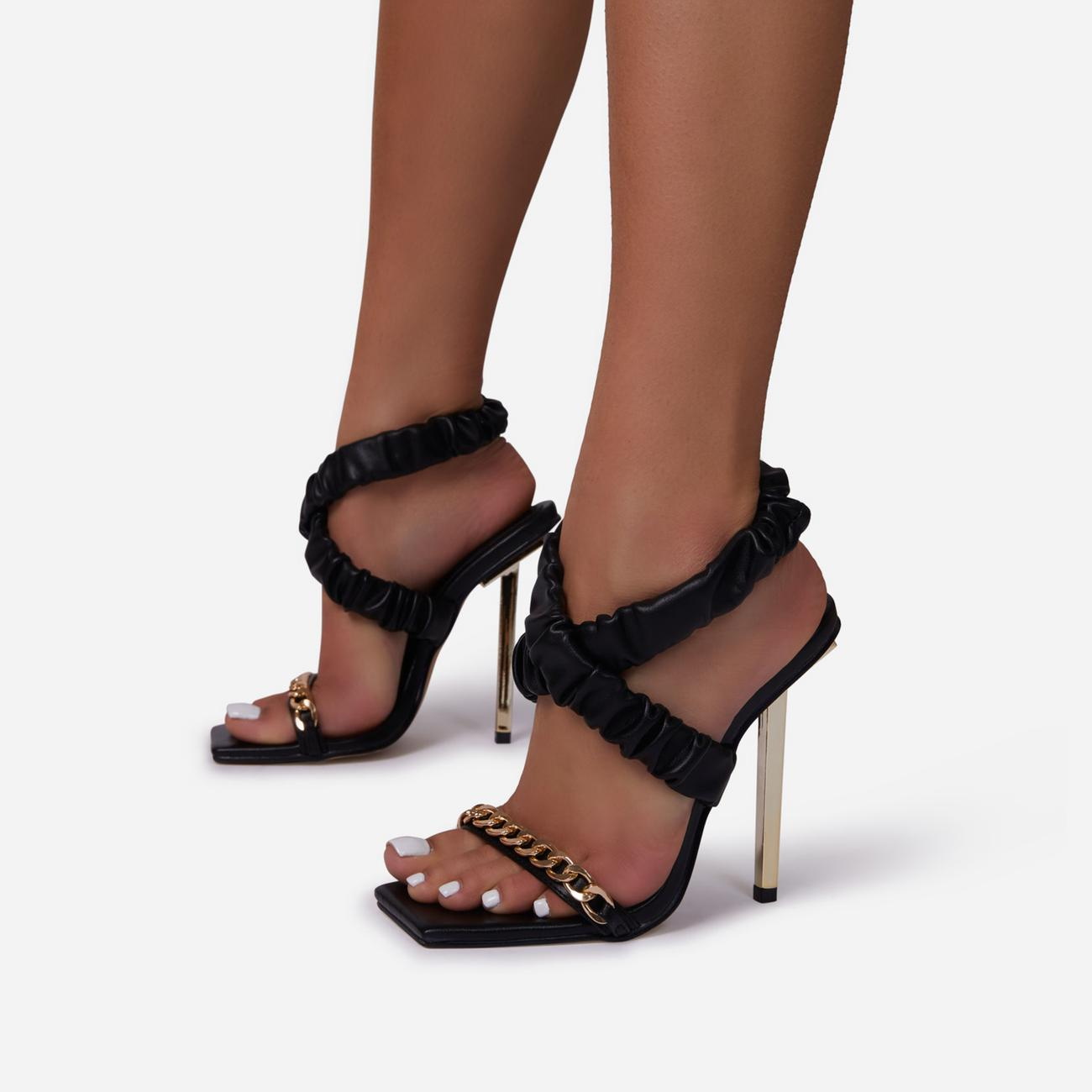 Caught-Up Chain Detail Ruched Strap Square Toe Metallic Heel In Black Faux Leather Image 1