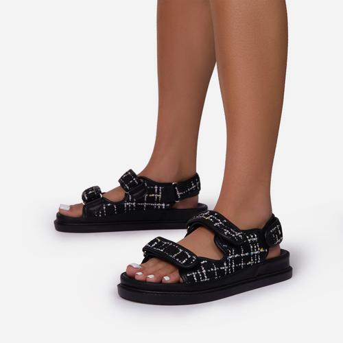 Hyped Quilted Double Strap Flat Dad Sandal In Black Tweed Print
