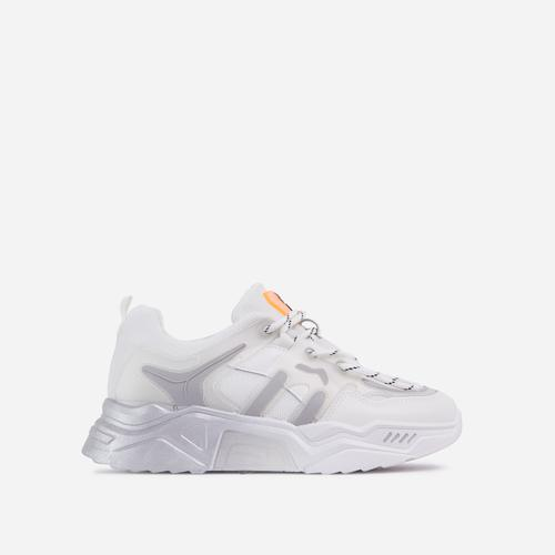 Andre Caged Lace Up Mesh Chunky Sole Trainer In White