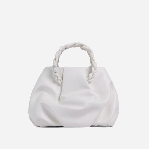 Malia Braided Handle Cross Body Bag In White Faux Leather