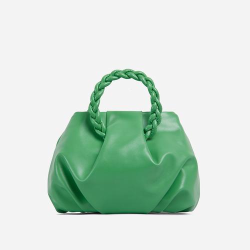 Malia Braided Handle Cross Body Bag In Green Faux Leather