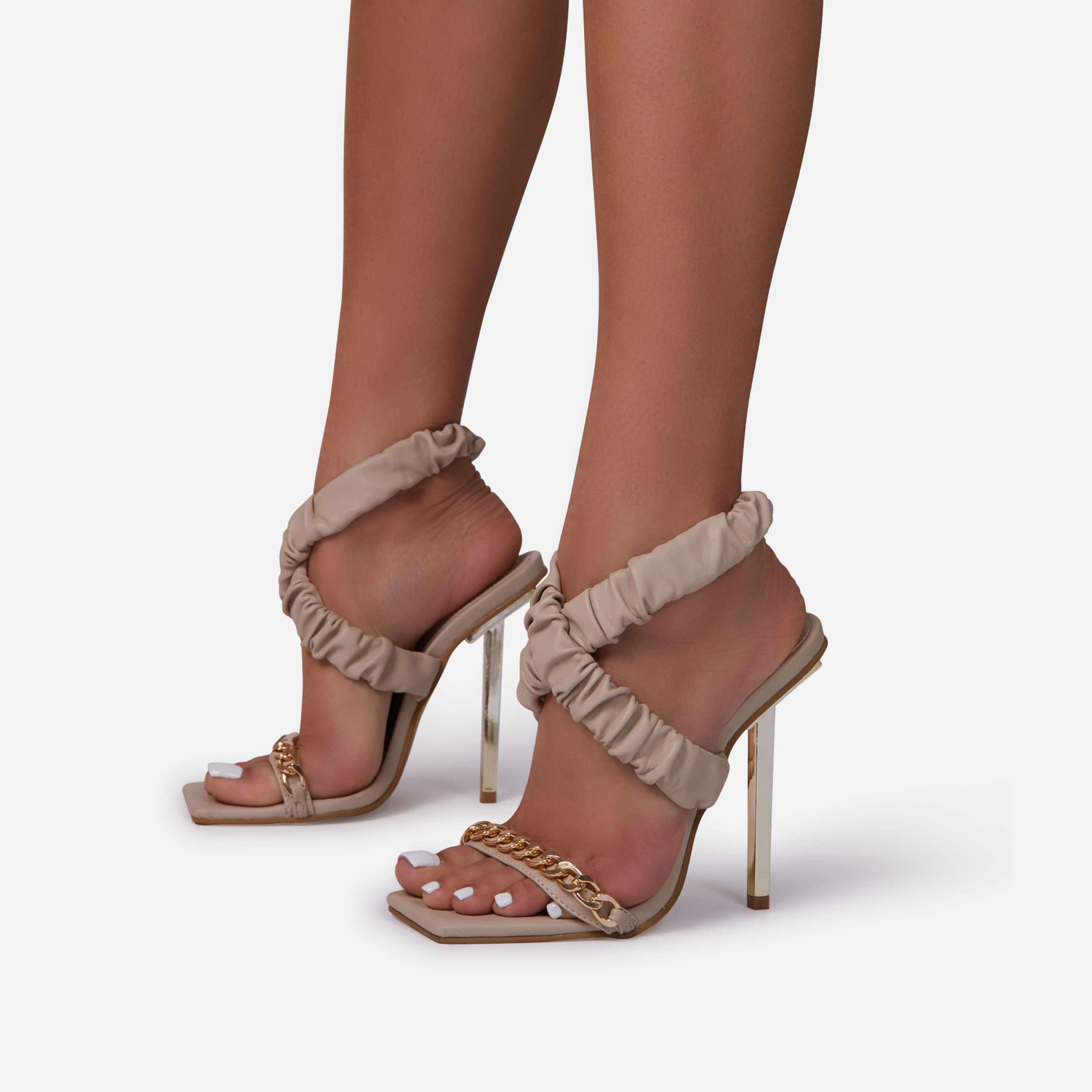 Caught-Up Chain Detail Ruched Strap Square Toe Metallic Heel In Beige Nude Faux Leather