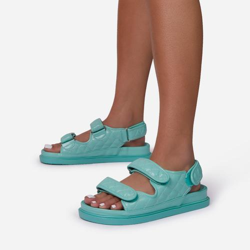 Hyped Quilted Double Strap Flat Dad Sandal In Mint Green Faux Leather