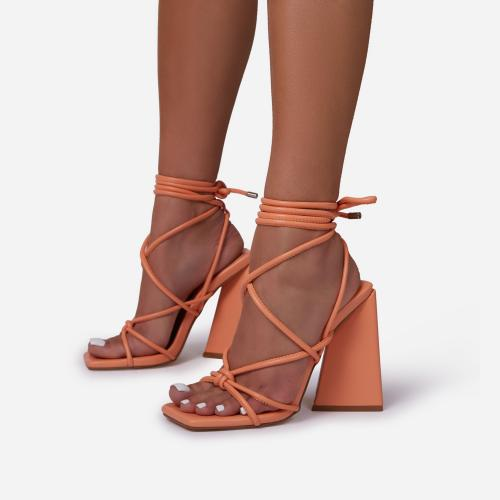 Date-Night Knotted Detail Lace Up Square Toe Sculptured Flared Block Heel In Orange Faux Leather