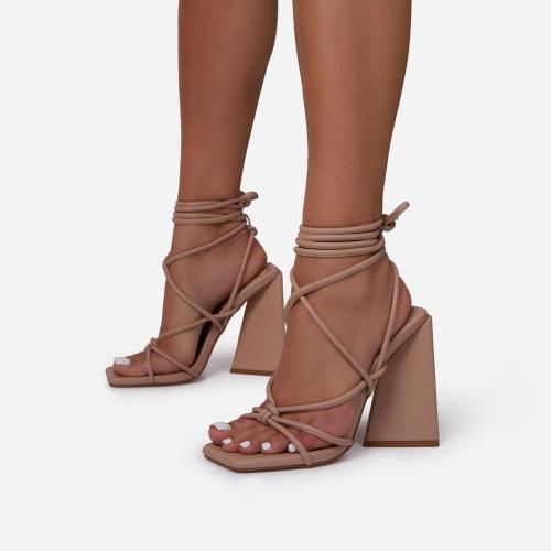 Date-Night Knotted Detail Lace Up Square Toe Sculptured Flared Block Heel In Nude Faux Leather