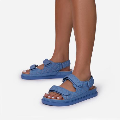 Hyped Quilted Double Strap Flat Dad Sandal In Blue Denim