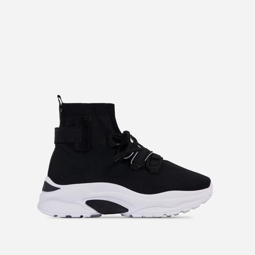 James Lace Up Chunky Sole Sock Trainer In Black Knit