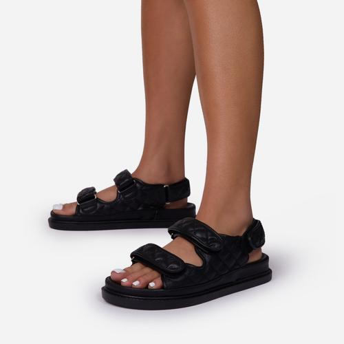 Hyped Quilted Double Strap Flat Dad Sandal In Black Faux Leather
