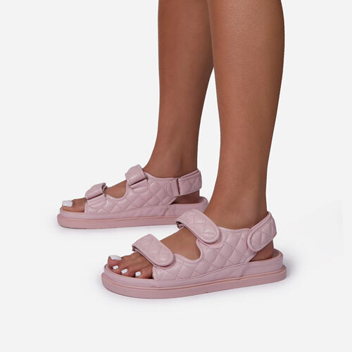 Hyped Quilted Double Strap Flat Dad Sandal In Pink Faux Leather