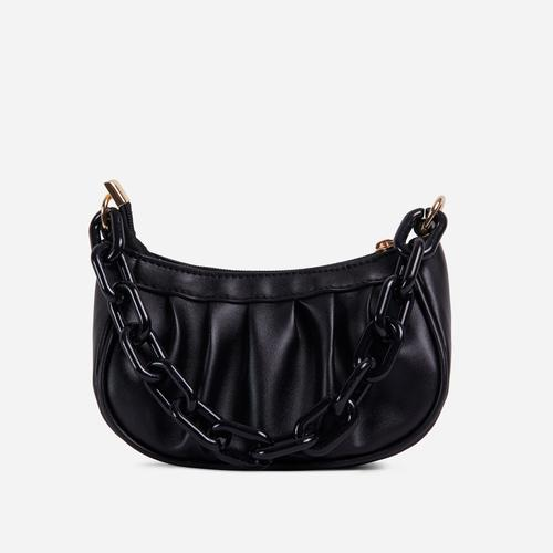 Sling Chain Detail Ruched Shoulder Bag In Black Faux Leather