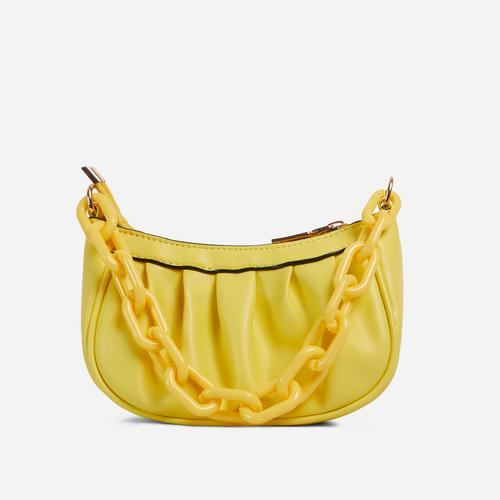 Sling Chain Detail Ruched Shoulder Bag In Yellow Faux Leather