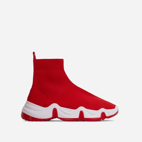 Atlas Chunky Sole Sock Trainer In Red Knit