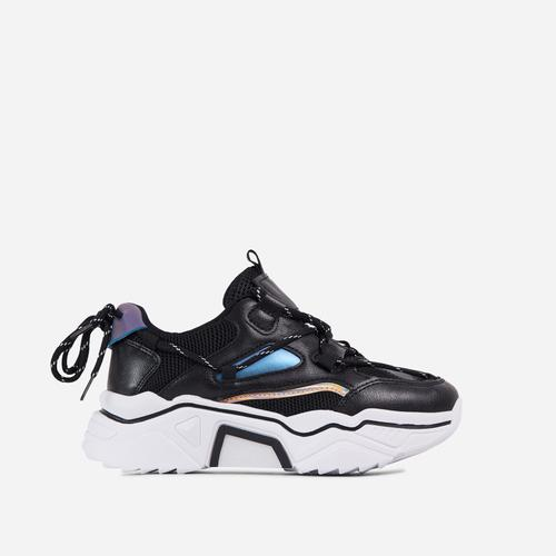 Haden Lace Up Mesh Chunky Sole Trainer In Black