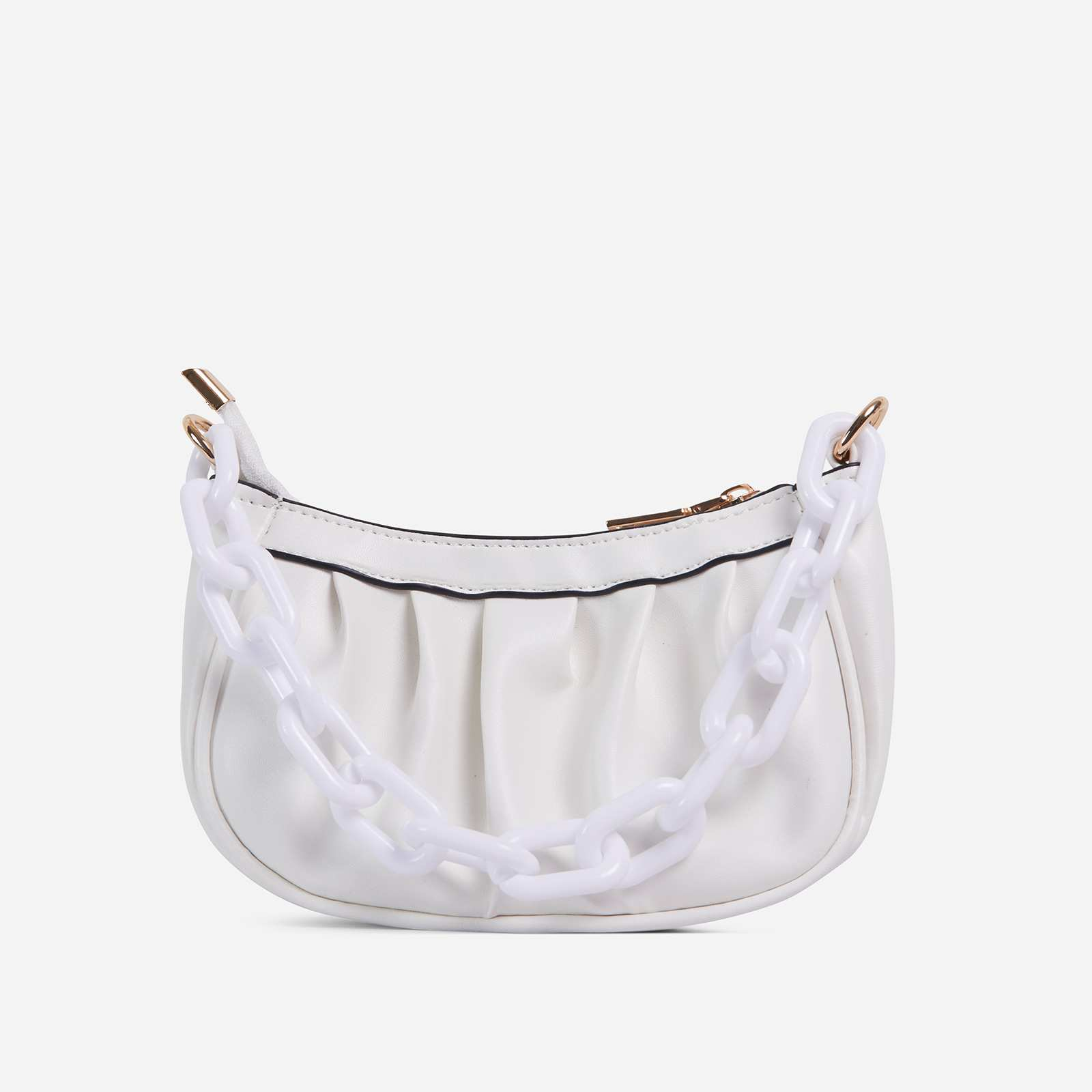 Sling Chain Detail Ruched Shoulder Bag In White Faux Leather