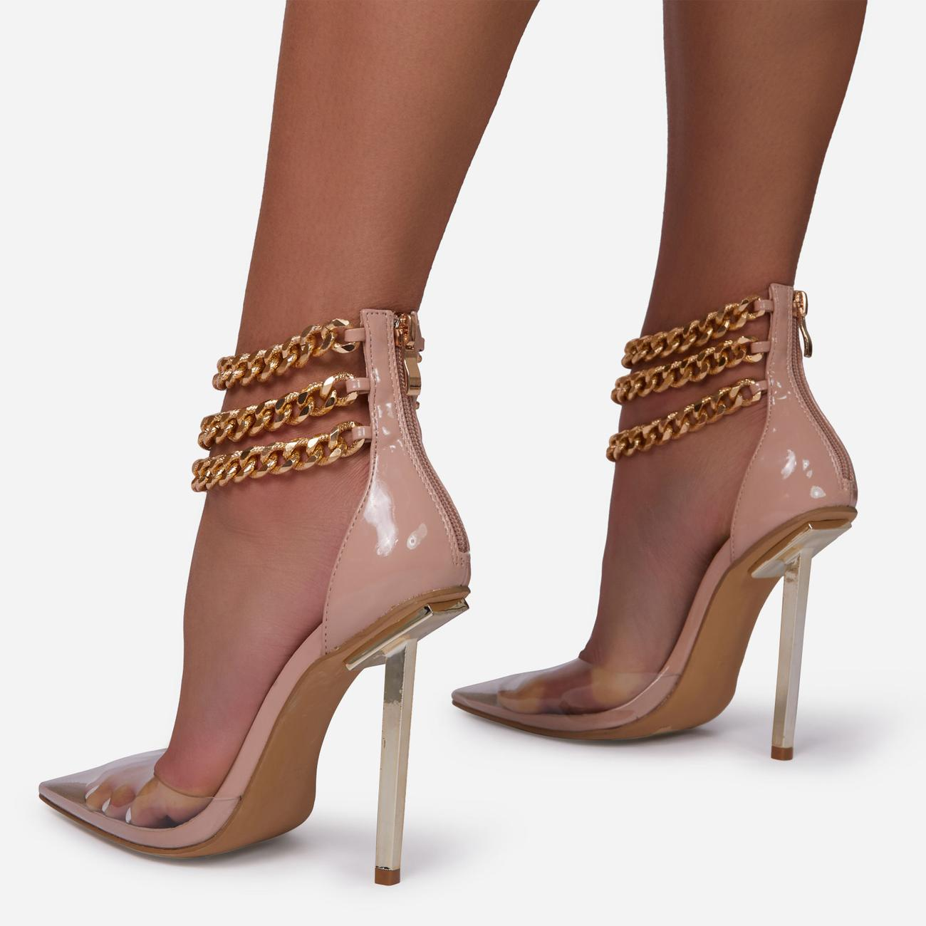 City-Life Triple Chain Detail Clear Perspex Pointed Toe Metallic Heel In Nude Patent Image 4