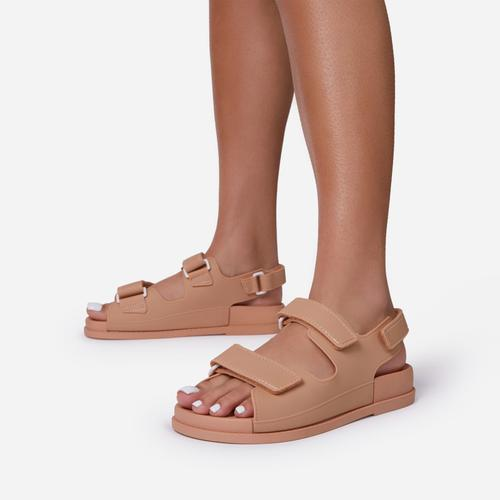 Brodi Double Strap Flat Dad Sandal In Nude Rubber